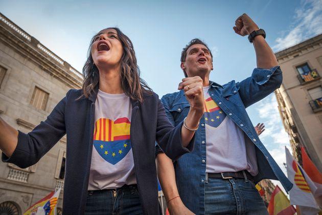 Arrimadas y Rivera en un acto en la plaza de Sant Jaume