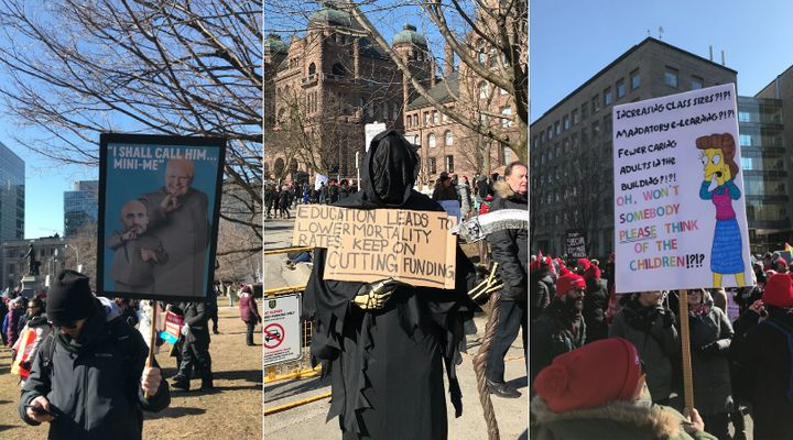 Striking Ontario teachers show off their creativity at a protest outside Queen's Park on Feb. 21, 2020.
