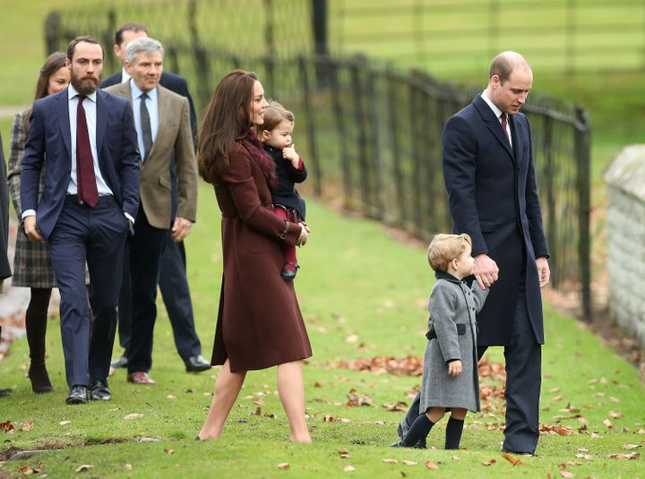 The Middleton family attends church with Prince William, Kate, and their children on Christmas Day on December 25, 2016.