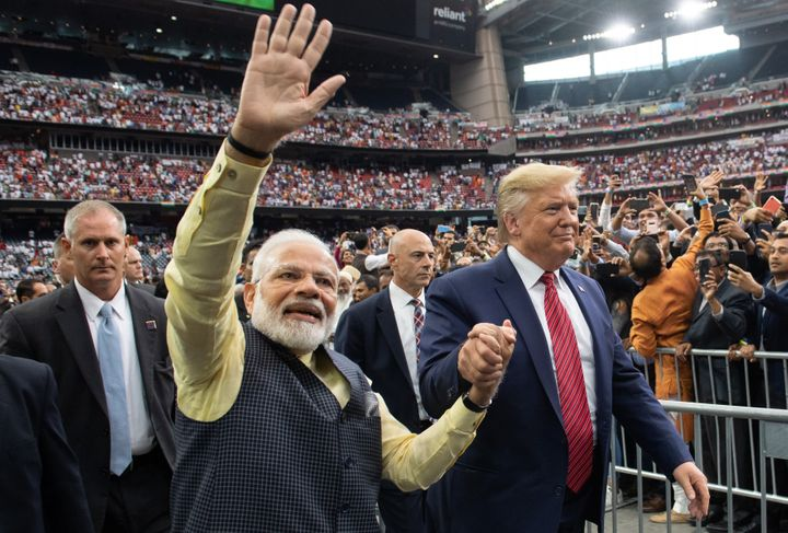 "Modi and Trump, two nationalist-minded leaders, attend the ""Howdy Modi"" rally at NRG Stadium in Houston on Sept. 22, 2019."
