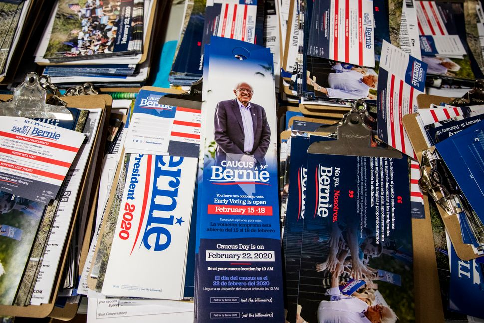 The Sanders campaign's literature in Nevada is offered in up to 16 languages. Ballots for the caucuses are available in
