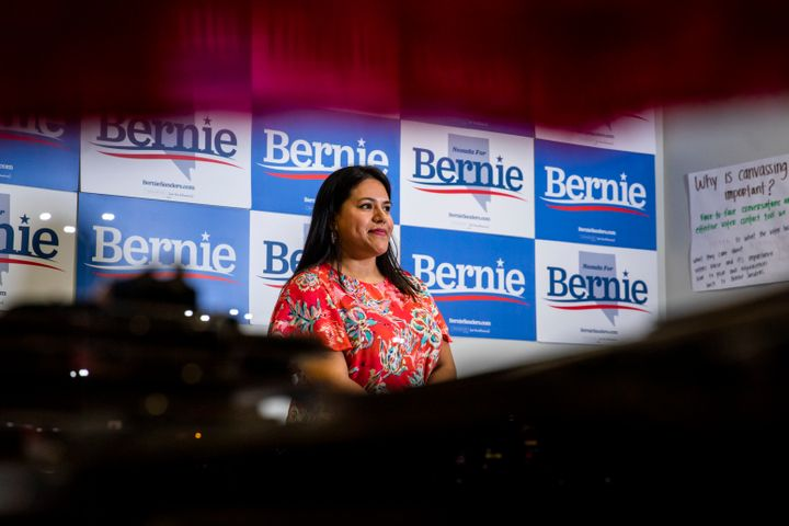 Lourdes Esparza, like many Sanders volunteers, said concerns about housing and medical costs motivated her to campaign for the senator's election.