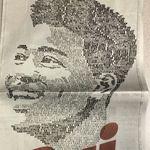 八村塁の顔を、応援メッセージで作った。ワシントンポストの全面広告に「富山の星」「NBAの伝説に!」