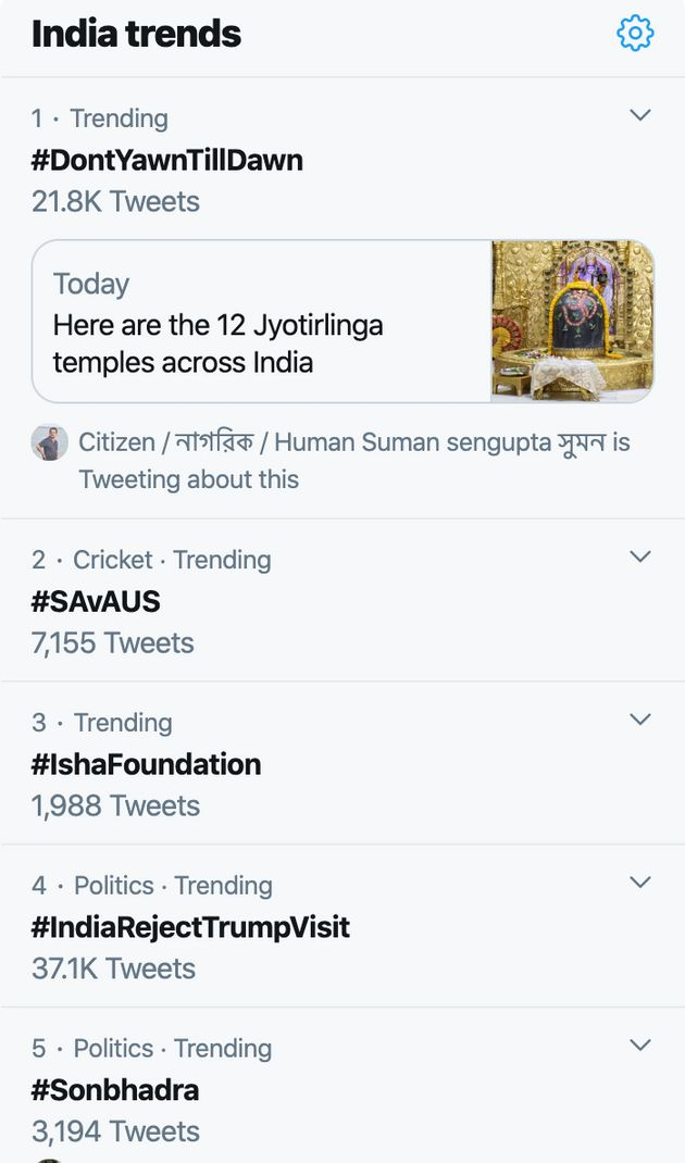The hashtag #IndiarejectsTrumpVisit though got 37.1Ktweets, it was placed at number four in India trends...