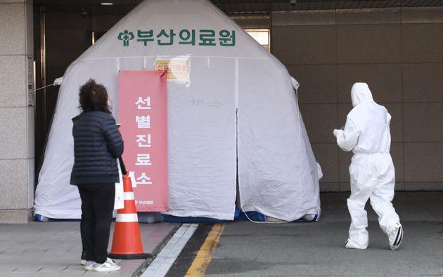 부산의료원 코로나19 선별진료소. 2020. 2.