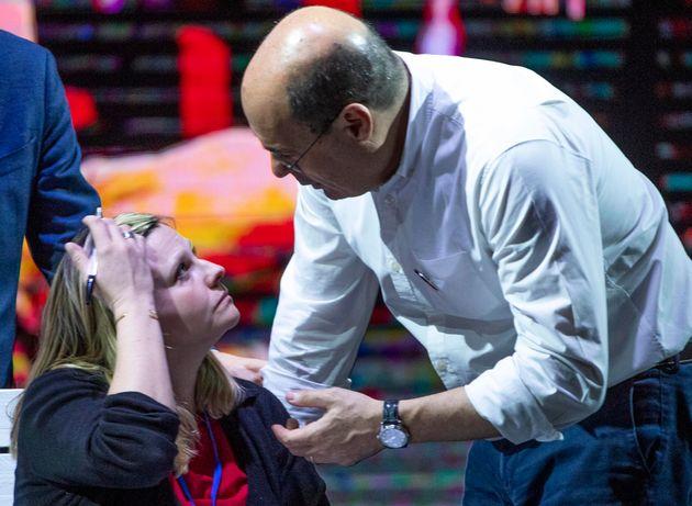 Il segretario del Pd, Nicola Zingaretti con la nuova presidente del partito, Valentina Cuppi, durante...