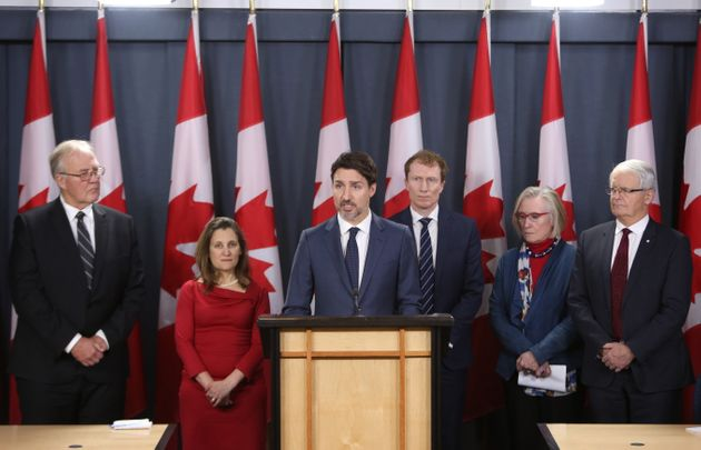 Prime Minister Justin Trudeau holds a news conference with members of his cabinet to discuss the current...