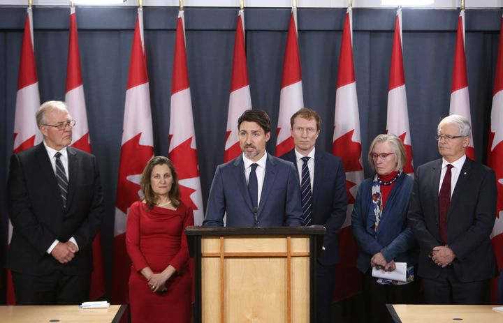 Prime Minister Justin Trudeau holds a news conference with members of his cabinet to discuss the current rail blockades and other topics at a news conference in Ottawa on Feb. 21, 2020.