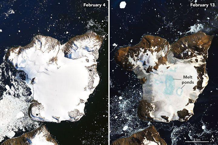 Antarctica's Eagle Island on Feb. 4, left, and Feb. 13.