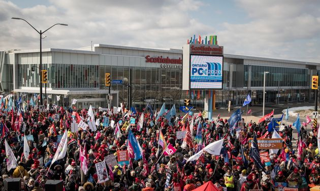 Members of the Ontario Federation of Labour protest outside Ontario Progressive Conservative party 2020...