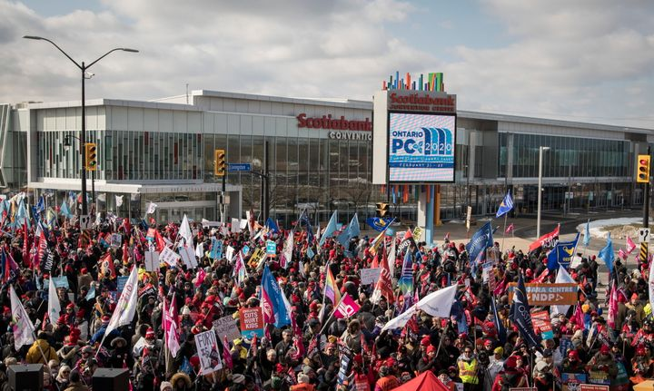 Members of the Ontario Federation of Labour protest outside Ontario Progressive Conservative party 2020 policy convention in Niagara Falls, Ont. on Feb. 22, 2020.