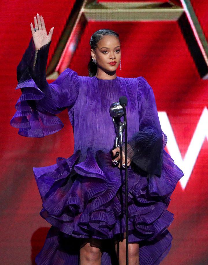 Rihanna accepts the President's Award during the 51st NAACP Image Awards at Pasadena Civic Auditorium on Feb. 22, 2020.