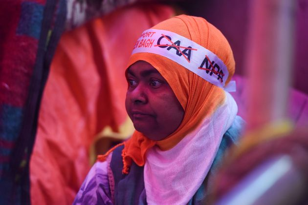 Representative image. A woman sports a head band during the ongoing protest against Citizenship Amendment...