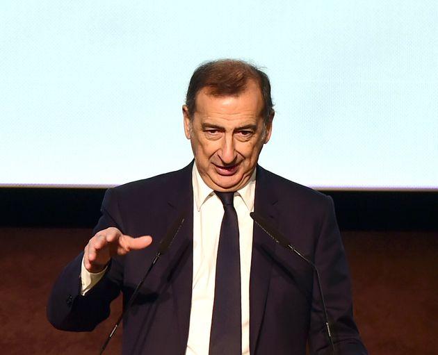 MILAN, ITALY - DECEMBER 09: Mayor of Milan, Giuseppe Sala speaks during the Leonardo Da Vinci New Galleries...