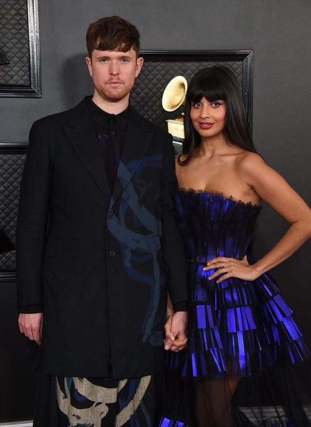 Jameela with boyfriend James Blake at the Grammys last