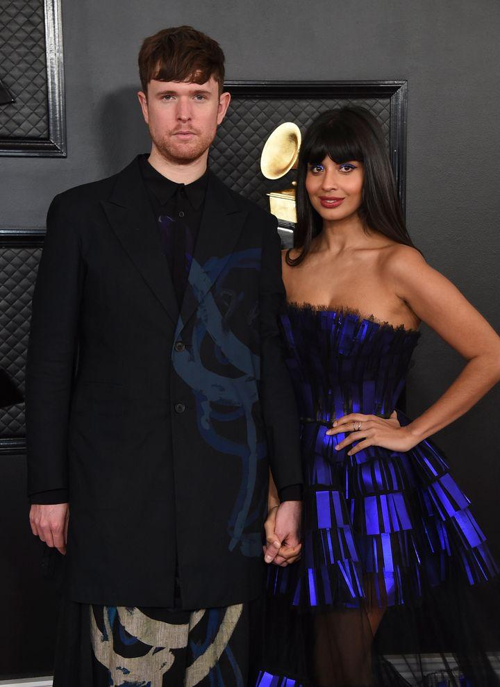 Jameela with boyfriend James Blake at the Grammys last month
