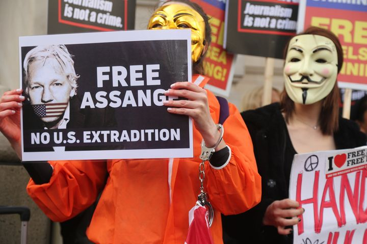 LONDON, ENGLAND - FEBRUARY 22: Supporters of Julian Assange stage a demonstration on February 22, 2020 in London, United King