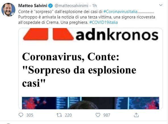 Tweet Salvini sul