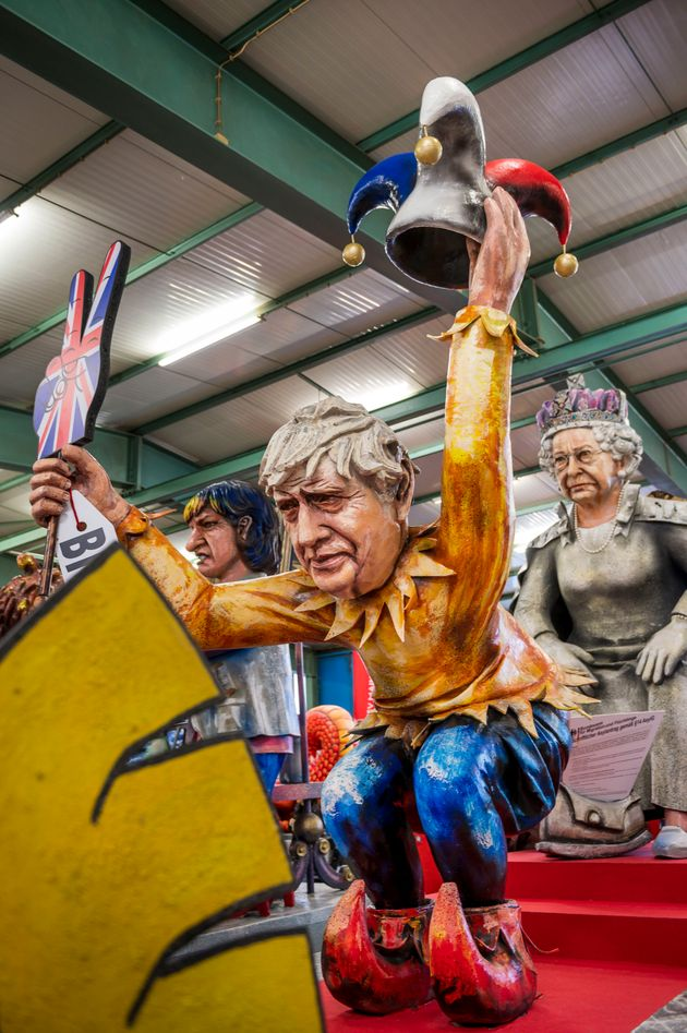 MAINZ, GERMANY - FEBRUARY 18: A float that depicts British Prime minister Boris Johnson with the Brexit...