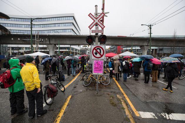 Protesters blockade CN Rail tracks in Vancouver on Feb. 15,