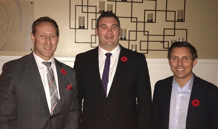 Conservative leadership hopeful Peter MacKay, left, his campaign manager Alex Nuttall, centre, and former Ontario Progressive Conservative leader Patrick Brown are pictured at a 2018 event.