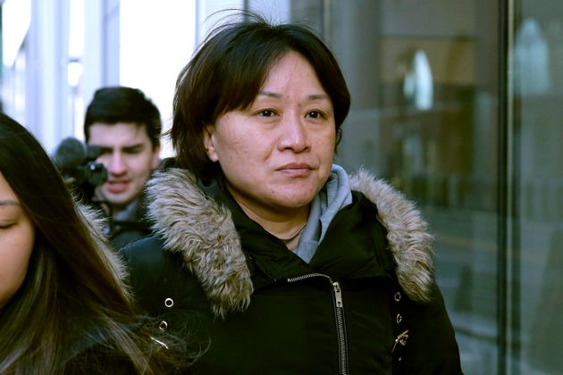 Xiaoning Sui, a Chinese national residing in British Columbia leaves federal court Feb. 21, 2020, in...
