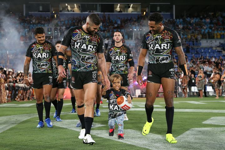 Quaden Bayles runs onto the field before the NRL match between the Indigenous All-Stars and the New Zealand Maori Kiwis All-Stars at Cbus Super Stadium on February 22, 2020 on the Gold Coast, Australia.