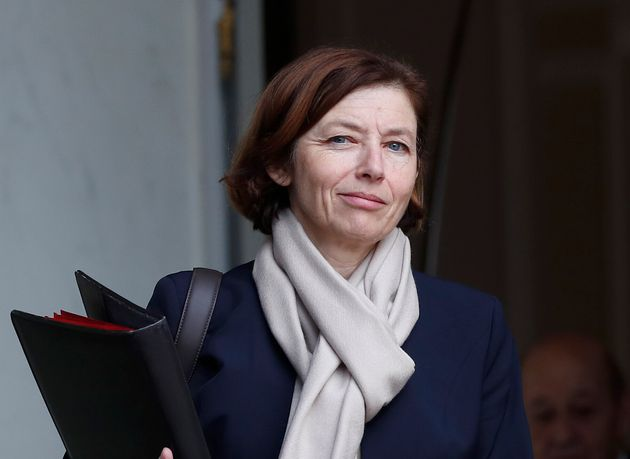 French Defense Minister Florence Parly walks out after the weekly cabinet meeting at the Elysee Palace,...