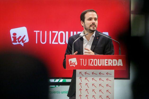 El coordinador general de IU, Alberto Garzón, en un acto de partido, el pasado