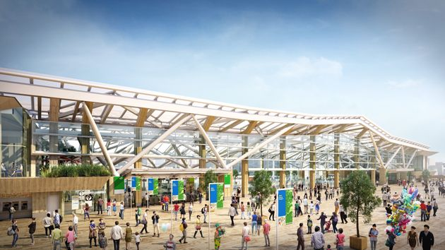 2020年3月14日に開業を迎える「高輪ゲートウェイ駅」の完成イメージ。日本の伝統的な折り紙をモチーフとした大屋根が特徴的。駅から街を見渡せる大きなガラス面を設けるなど、「駅と一体化した街」を目指した構造だ