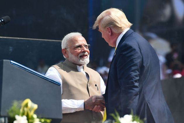 US President Donald Trump with Prime Minister Narendra Modi during 'Namaste Trump' event in Ahmedabad,...