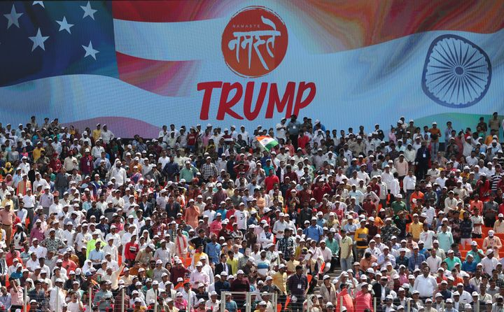 More than 100,000 people attend the 'Namaste Trump' event at Sardar Patel Stadium in Ahmedabad, India on Monday.