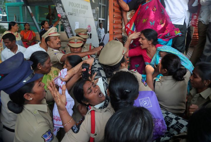 Indian police in Hyderabad detained members of Centre of Indian Trade Unions who demonstrated against Trump's visit to India.