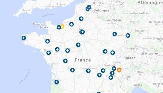 La carte de la France face au