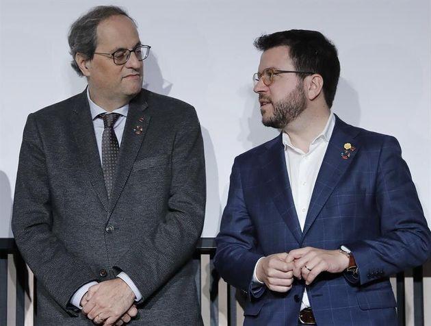El presidente de la Generalitat, Quim Torra, y su vicepresidente y conseller de Economía, Pere Aragonés
