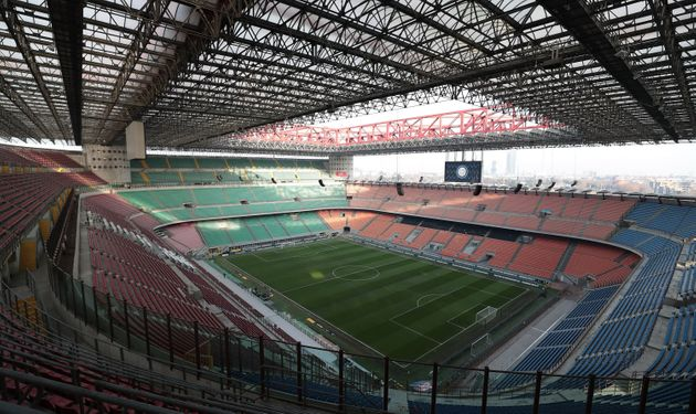 MILAN, ITALY - JANUARY 13: General view of the San Siro Stadium empty (the fans of Internazionale are...
