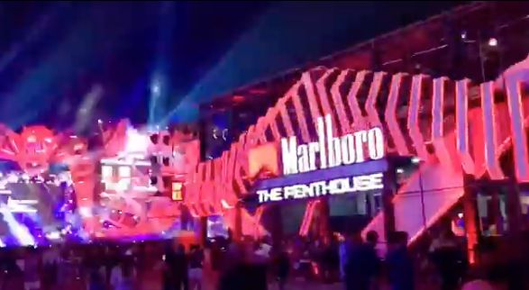 Thousands of festival-goers were met with bright Marlboro signs and promotions at the Djakarta Warehouse