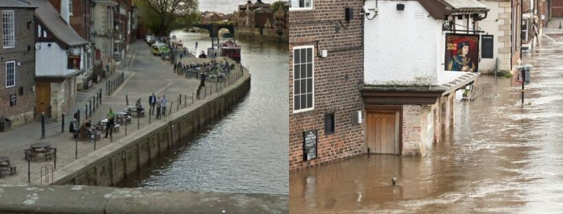 The King's Arms, known as 'the pub that floods' in York (picture on the right taken on February
