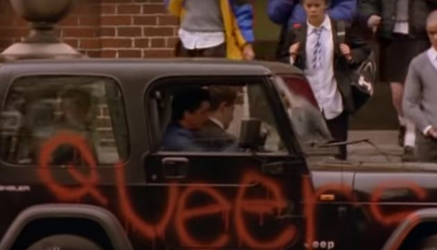 Nathan gets dropped off at school in the first episode of Queer As