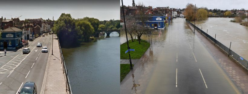 The Salopian Bar in Shrewsbury (pictured far left) pictured in summer (left) and on February 24, 2020