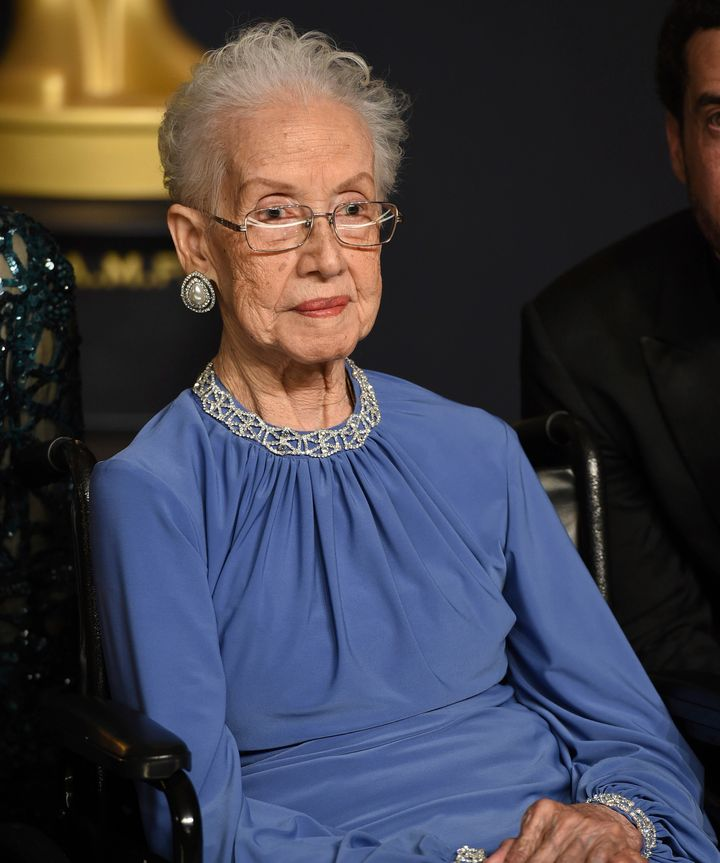 "Katherine Johnson, the inspiration for the film ""Hidden Figures,"" poses in the press room at the Oscars at the Dolby Theatre"