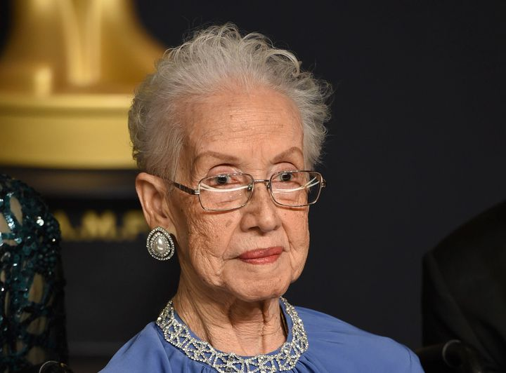 """Katherine Johnson, the inspiration for the film """"Hidden Figures,"""" poses in the press room at the Oscars at the Dolby Theatre"""