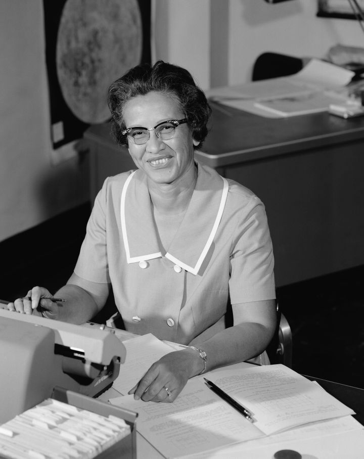 NASA space scientist and mathematician Katherine Johnson poses for a portrait at the Langley Research Center — then cal