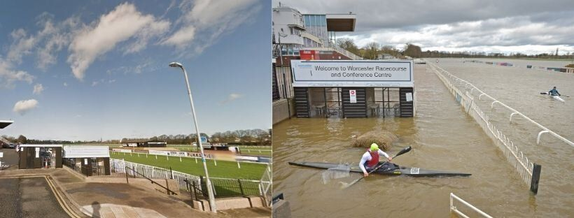 Worcester Racecourse as it normally appears (left), and the scene on February