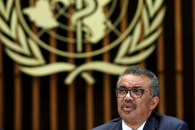 Tedros Adhanom Ghebreyesus, director general de la Organización Mundial de la Salud, da un comunicado...