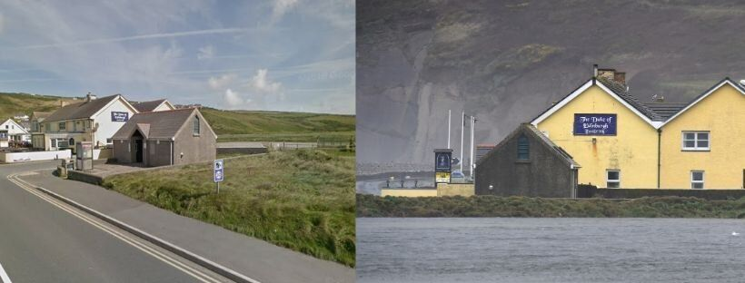 The Duke of Edinburgh Family Inn in Newgale, Pembrokeshire. The picture on the right was taken on February...