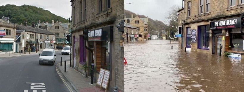 West End, Hebden Bridge, West Yorkshire on a normal day, versus on February 9,