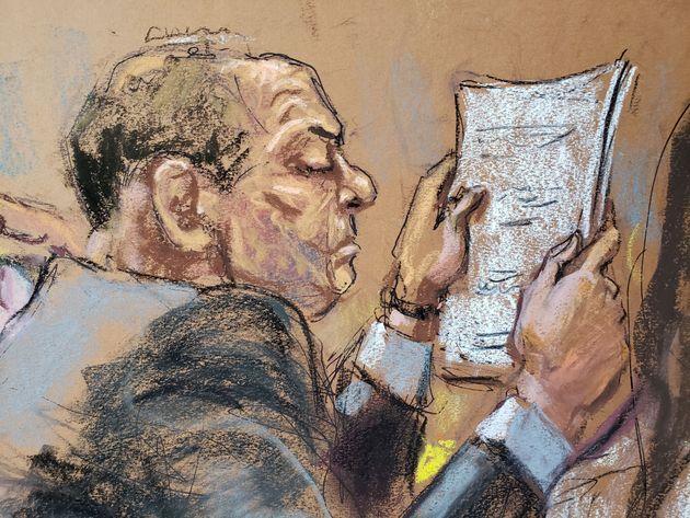 Desenho de Harvey Weinstein durante julgamento realizado em Nova York nesta segunda