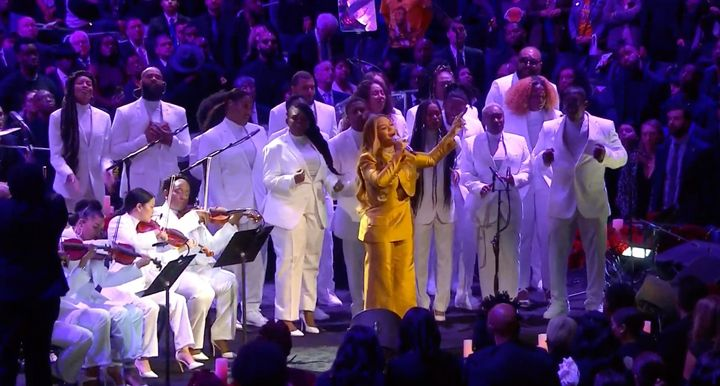 Beyoncé performs at the memorial service in Los Angeles for Kobe Bryant and his daughter Gianna, who were killed in a