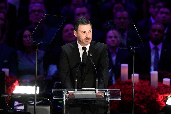 "TV personality Jimmy Kimmel speaks during ""The Celebration of Life for Kobe & Gianna Bryant"" at Staples Center on Feb. 24"
